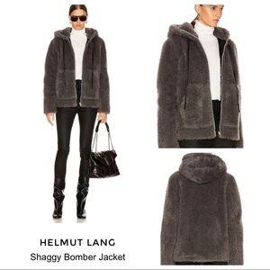 Helmut Lang Shaggy Bomber Jacket Faux Fur